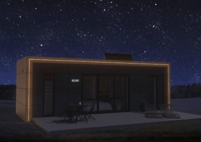 Tiny House BLOXS with light strips at night