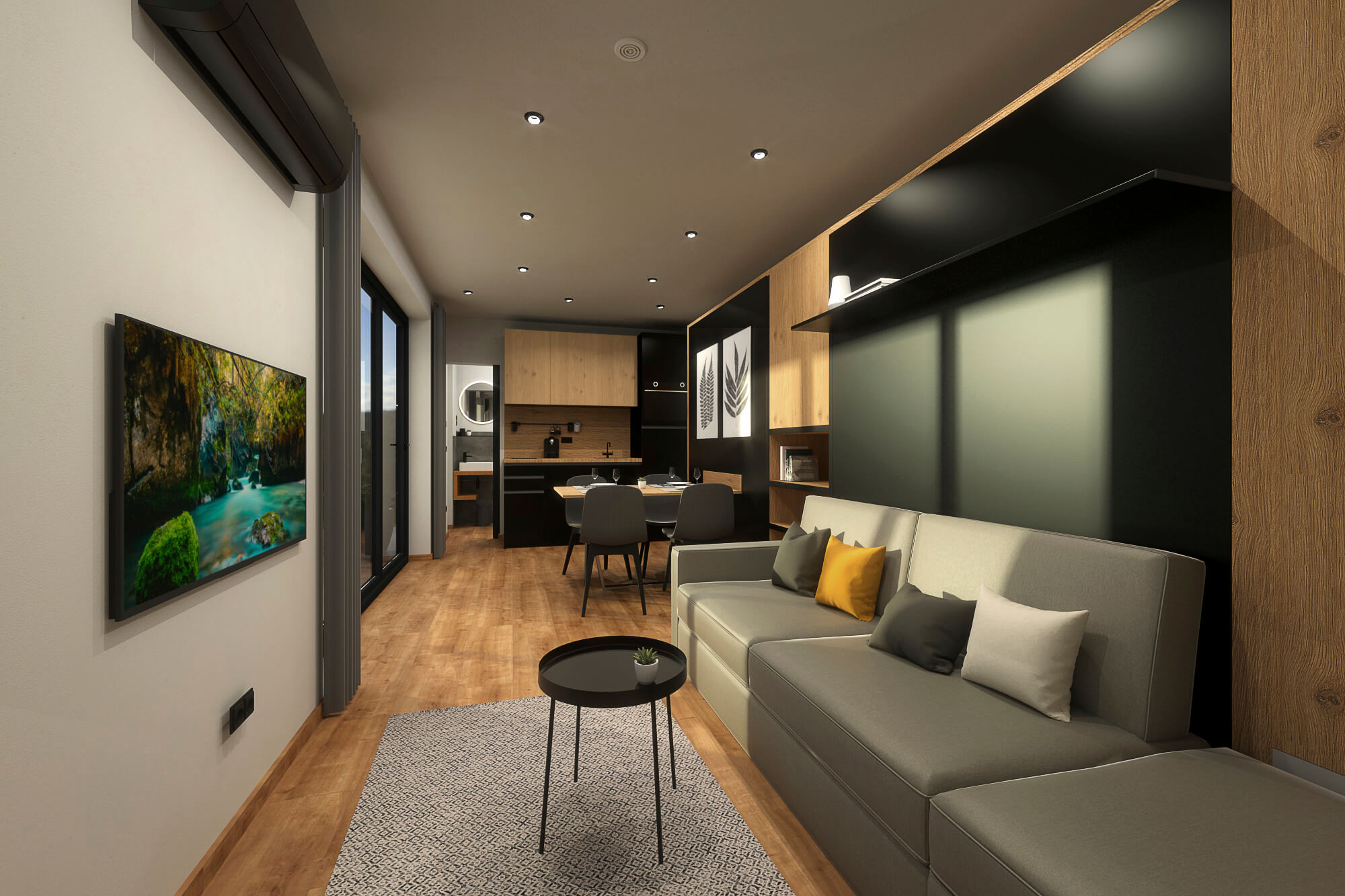 Tiny House BLOXS LIVING 30 Living room with sofa and TV