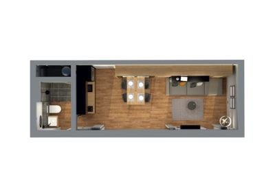 Tiny House BLOXS Room Plan with Furniture