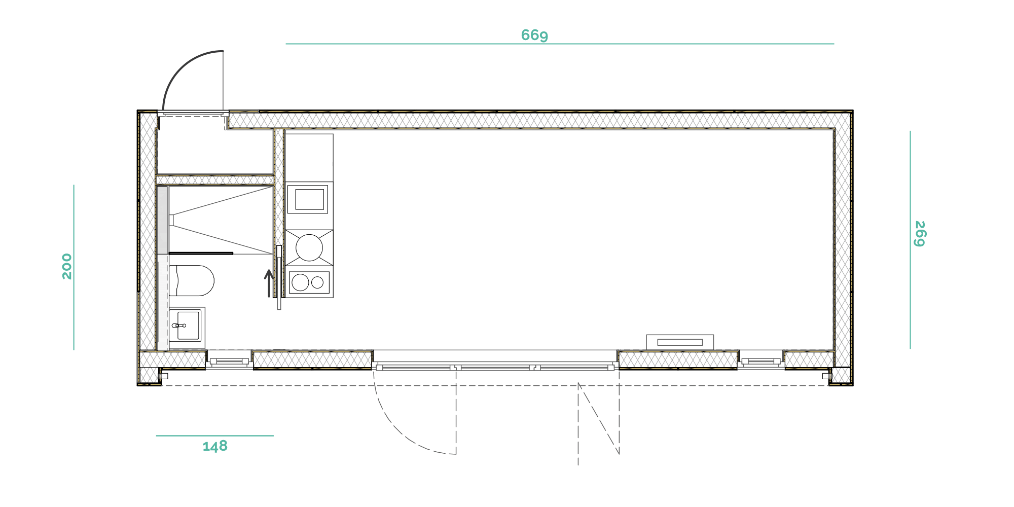 Tiny House BLOXS floor plan with 31 square metres