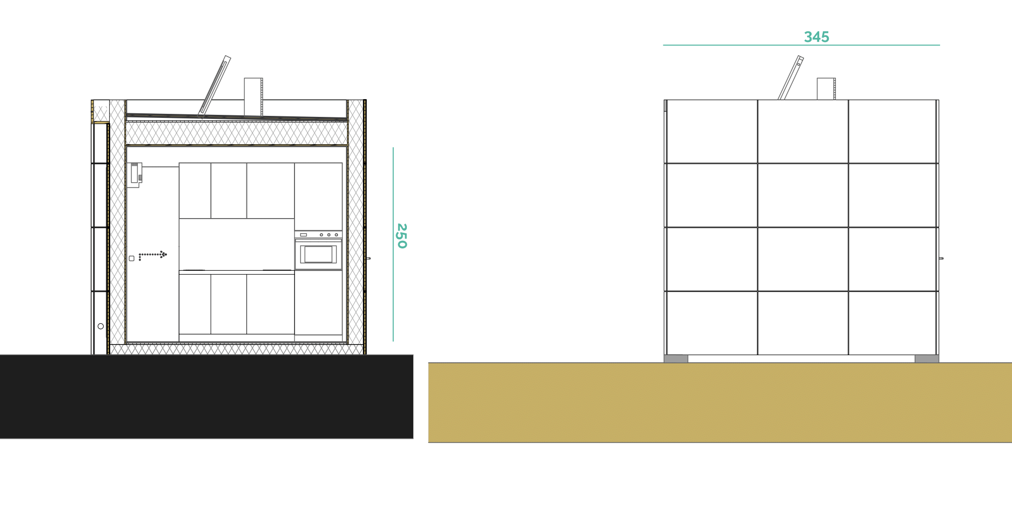 Tiny House BLOXS in cross-section