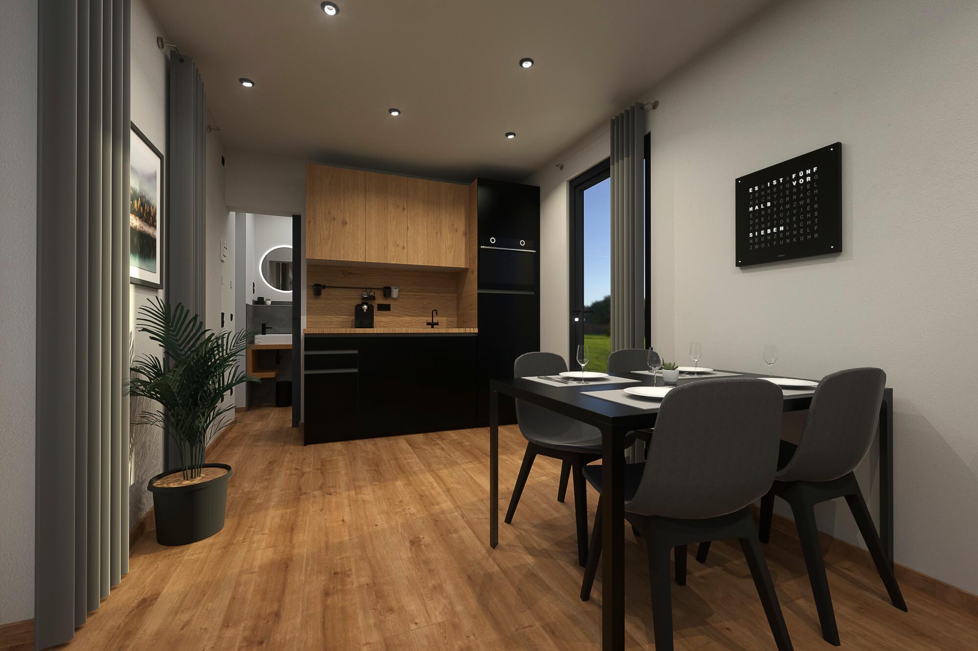 Tiny House BLOXS mit Küche und Esstisch