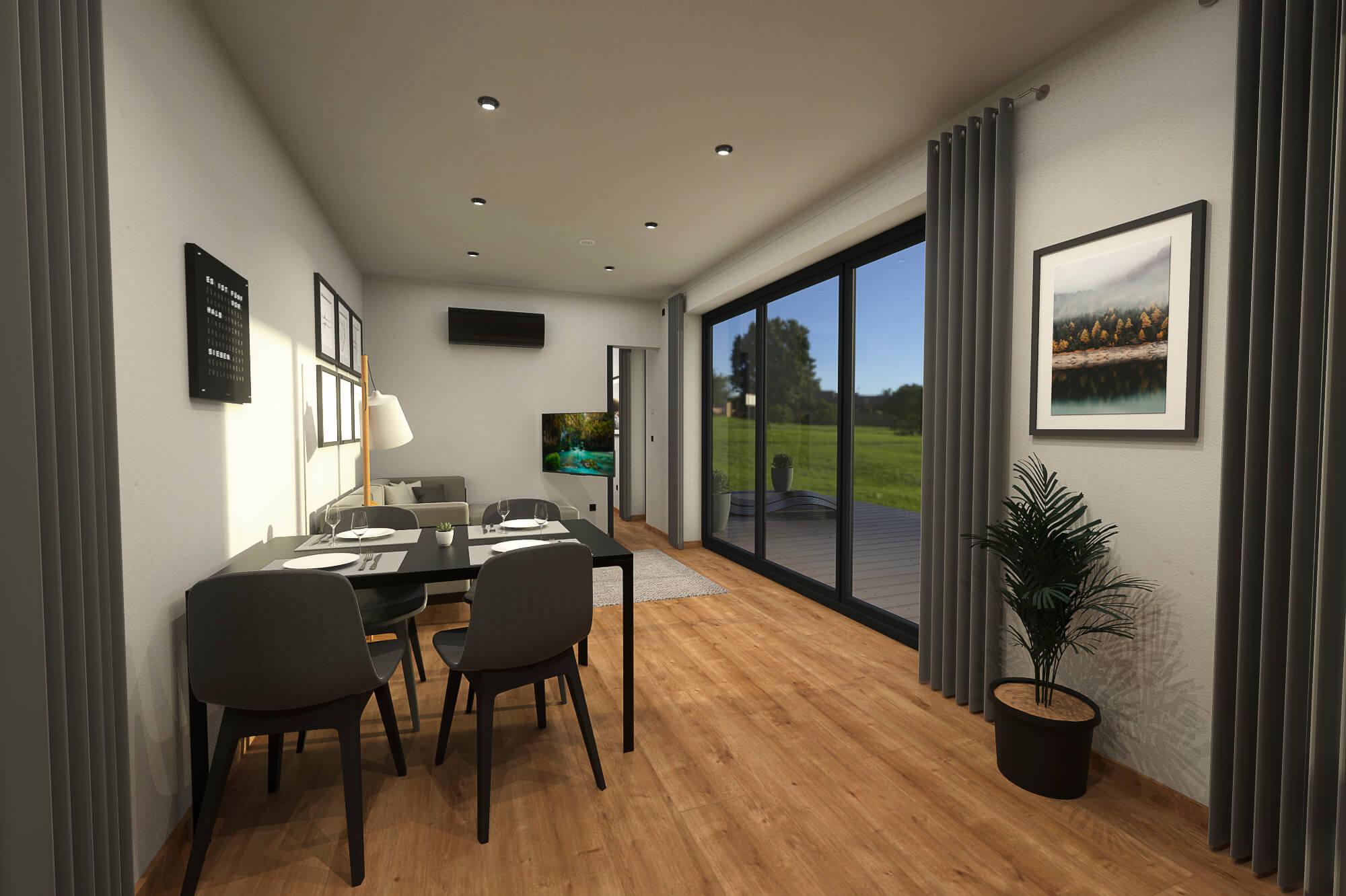 Tiny House BLOXS Ess- und Wohnbereich mit Blick nach Draußen