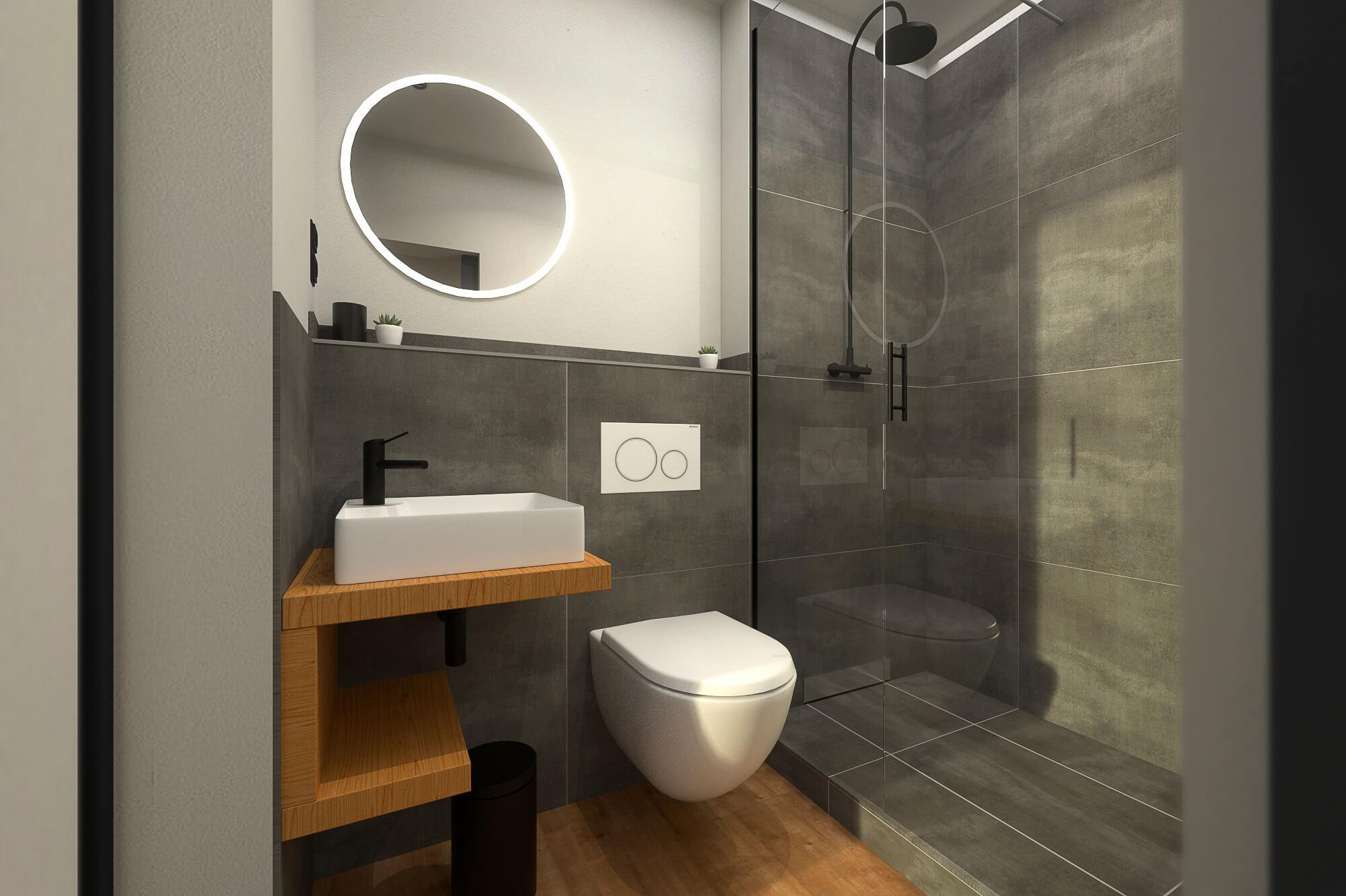 Tiny House BLOXS Badezimmer mit begehbarer Dusche