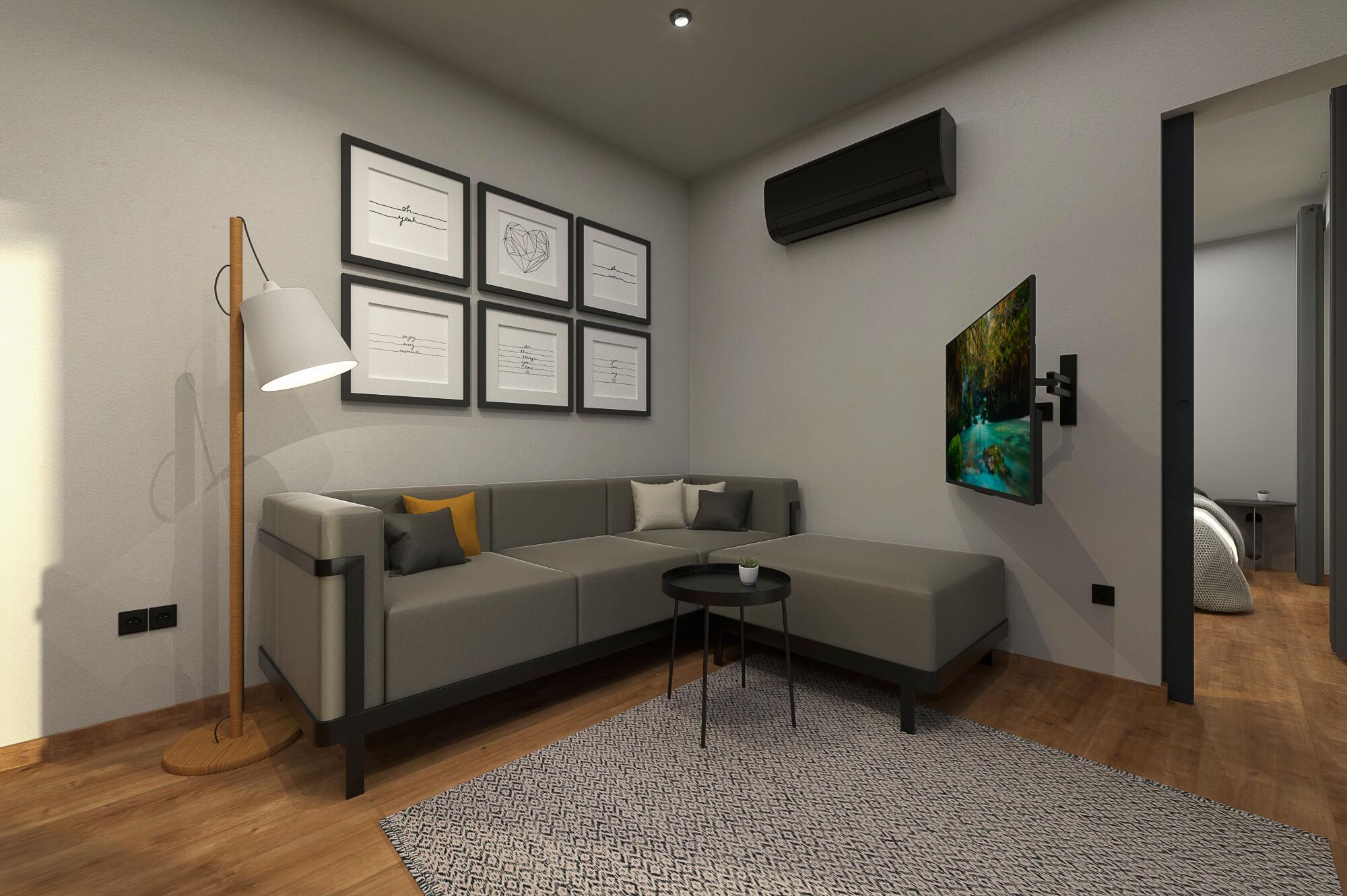 Tiny House BLOXS Wohnbereich mit Klimaanlage