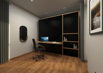 Tiny House BLOXS mit Wandschrank und Schreibtisch