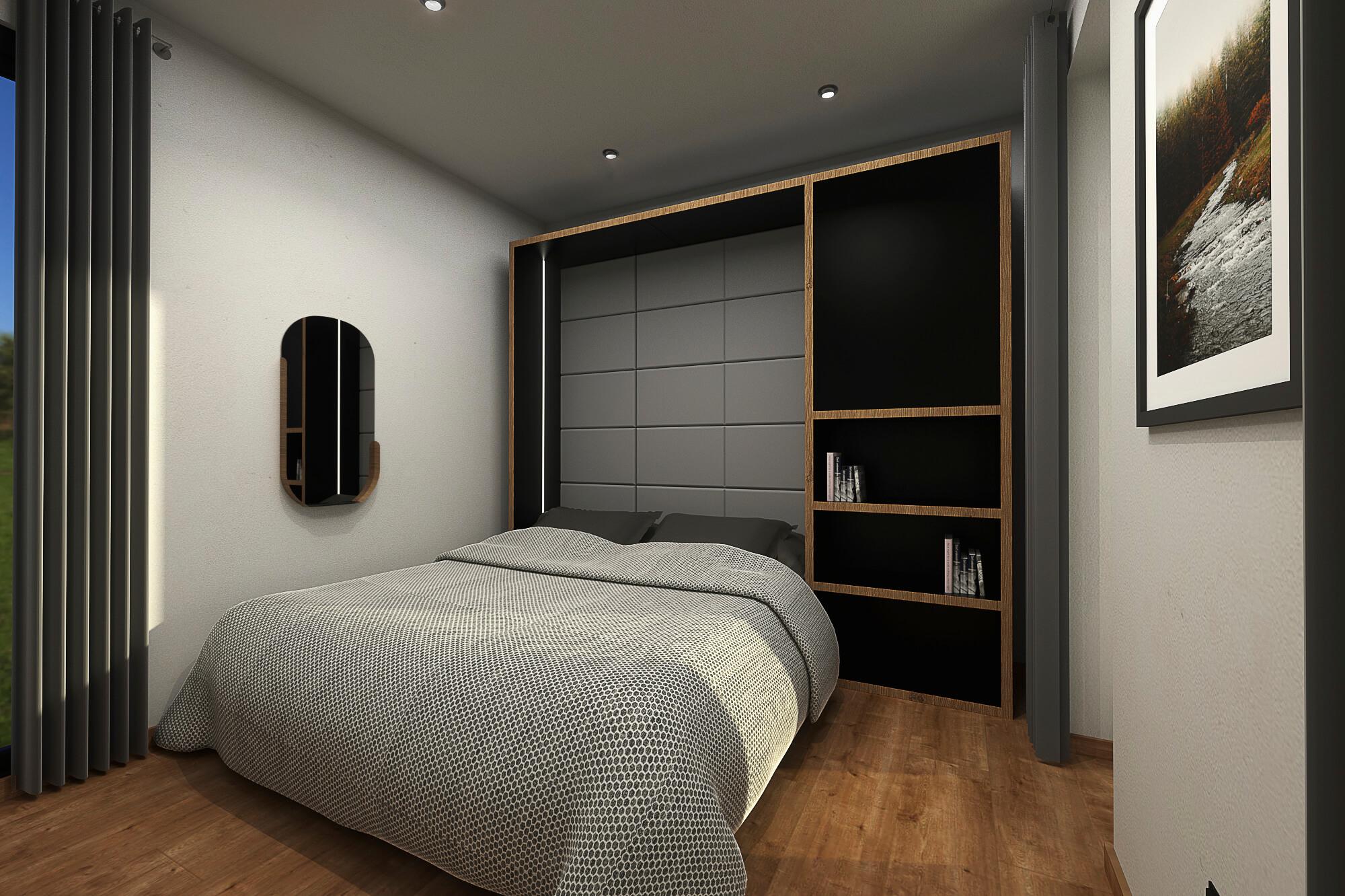 Tiny House BLOXS mit Home Office Wandschrank Bett