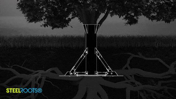 Tiny Haus Fundament steel roots übernehmen das Prinzip einer Baumwurzel